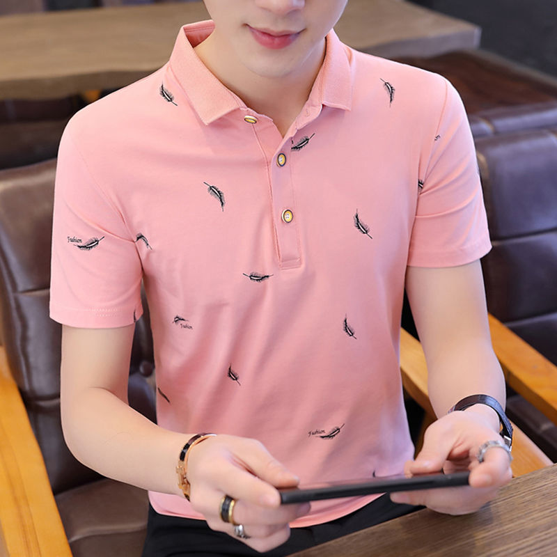 2019 New Summer Polo Shirt Men's Short Sleeve T-shirt Korean Fashion Youth Shirt