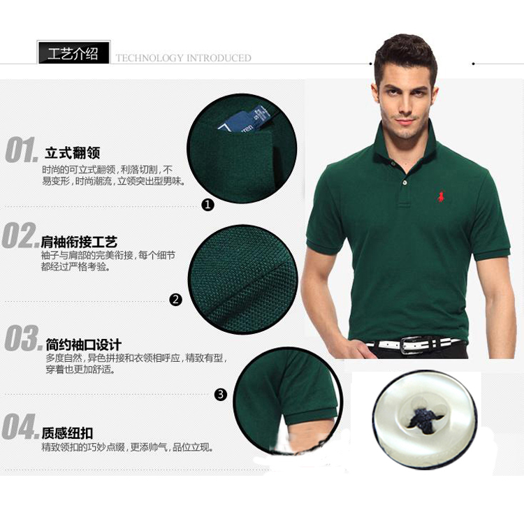 Hong Kong Authentic Purchase Of Paul T-shirt Summer Polo Shirt Short Sleeve T-shirt Men's Cotton Lapel Solid Large Men's Clothing