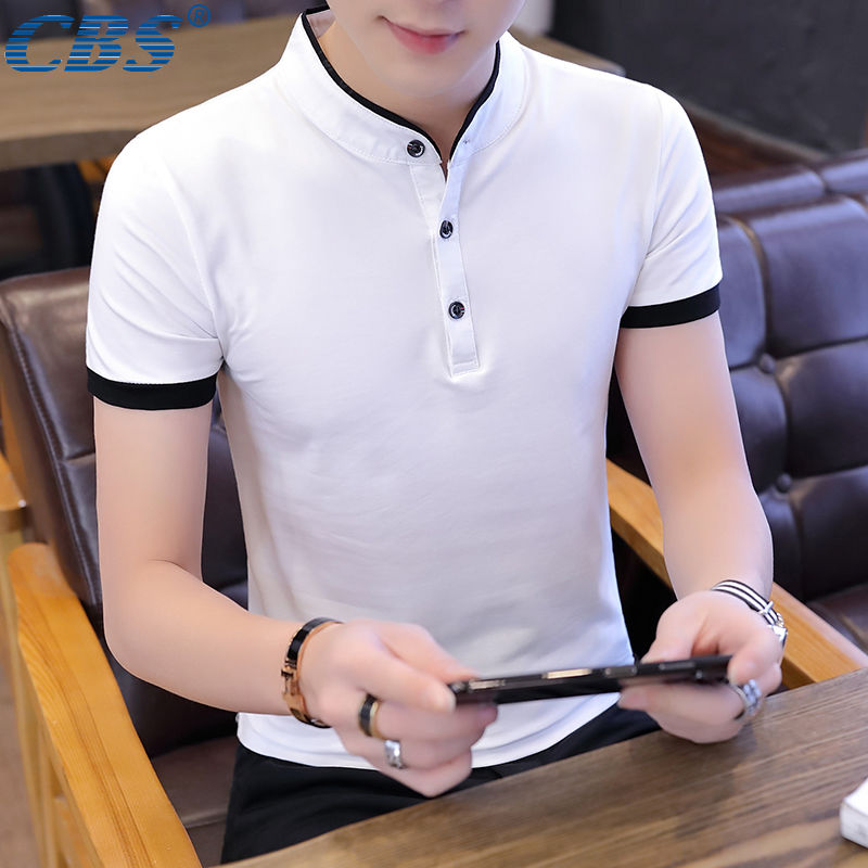 [CBS Authentic] 95% Cotton Men's Polo Men's Lapel Short Sleeve T-shirt Men's Cotton Sweatshirt Men's Summer