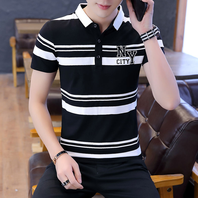Polo Shirt Men's Short Sleeve Summer Korean Leisure Trend Youth Print Polo Shirt Pure Cotton Half Sleeve Top [issued On February 9]
