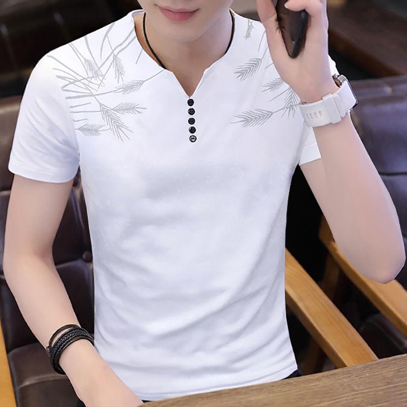 New Style [95 Cotton] Summer Men's Short Sleeve T-shirt Men's Vertical Collar Half Sleeve Polo Shirt Upper Garment Bottoming Body