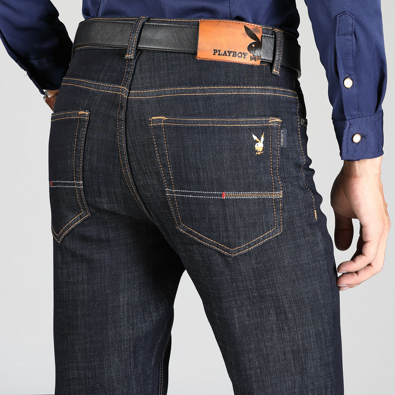 Playboy Men's Jeans Loose Straight Tube Spring Summer New High Waist Middle Age Large Casual Business Men's Wear