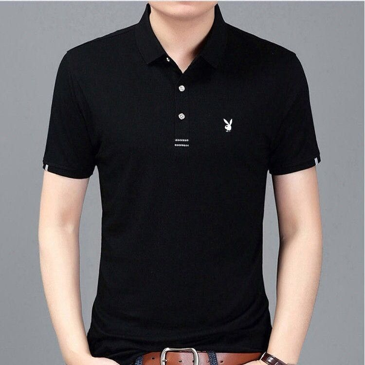 Playboy Men's Short Sleeve Large Polo New Summer Cotton T-shirt Men's Polo Printed T-shirt [issued On February 6]