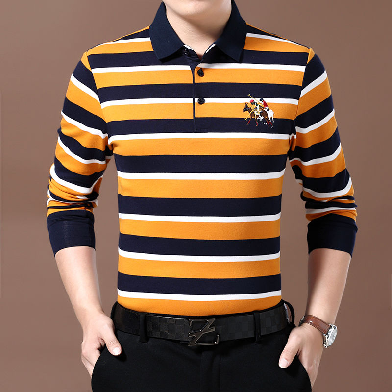 Woodpecker Autumn Winter 2019 Cotton Long Sleeve T-shirt Men's Polo Shirt With Lapel Stripes Middle Age Business Bottom Coat