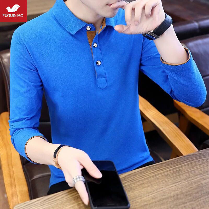 New Style Men's Long Sleeve Polo T-shirt Polo In Autumn