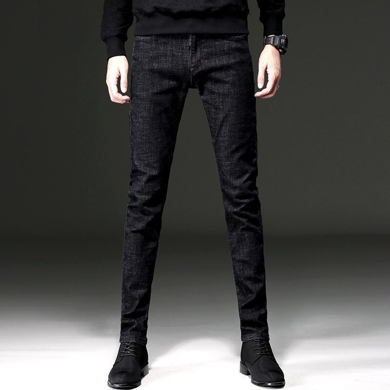 New Style Black Jeans In Autumn And Winter, Men's Slim Leggings, Stretch And Plush, Thickened Casual Men's Trousers In Korean Version