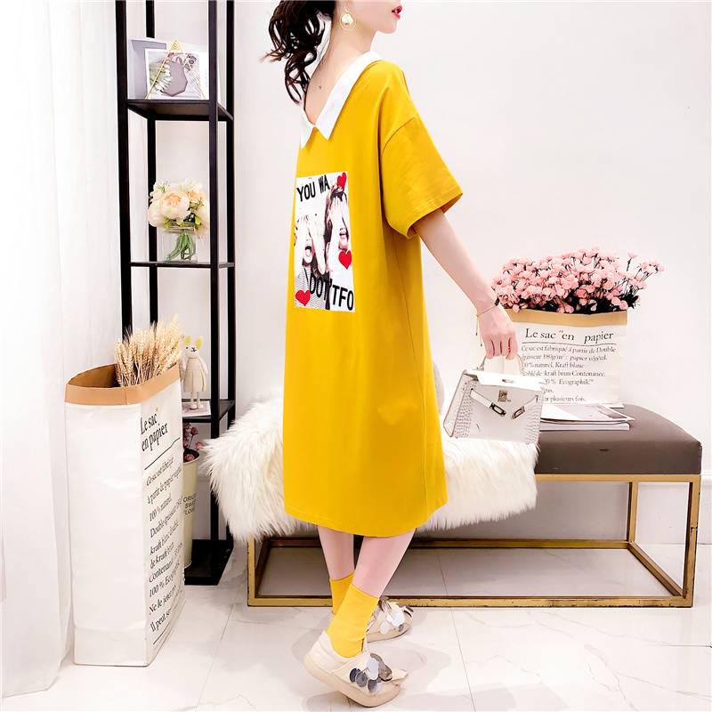 Polo Long T-shirt Women's Over Knee 2019 New Korean Summer Loose Large Short Sleeve Open Back Dress Top [issued On February 11]