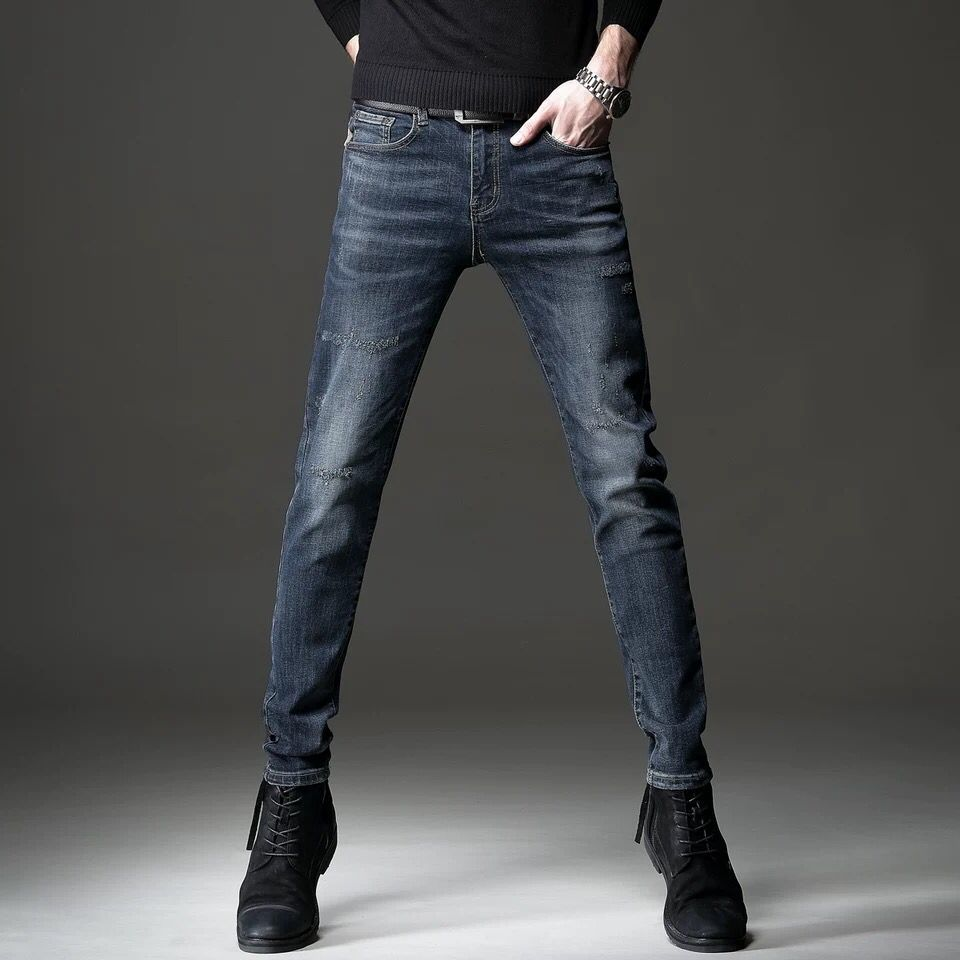Autumn And Winter Jeans Men's Pants Slim Legged Pants Winter Men's New Elastic Casual Versatile Korean Trousers Men's Thick
