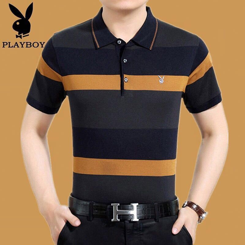 Playboy VIP Men's Short Sleeve T-shirt Ice Silk Stripe Loose Large Middle-aged And Old Dad Men's Polo Shirt [issued On February 11]