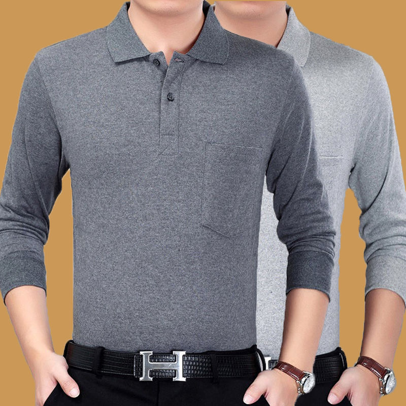 Long Sleeve Men's T-shirt Autumn Thin Men's T-shirt Middle Aged Men's Father's Top Polo Polo Long Sleeve