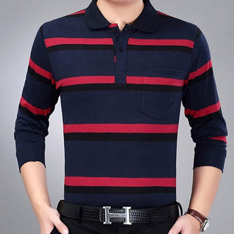 Long Sleeve Men's T-shirt Autumn Thin Men's T-shirt Middle Aged Men's Father's Top Polo Polo Shirt Long Sleeve [issued On February 2]