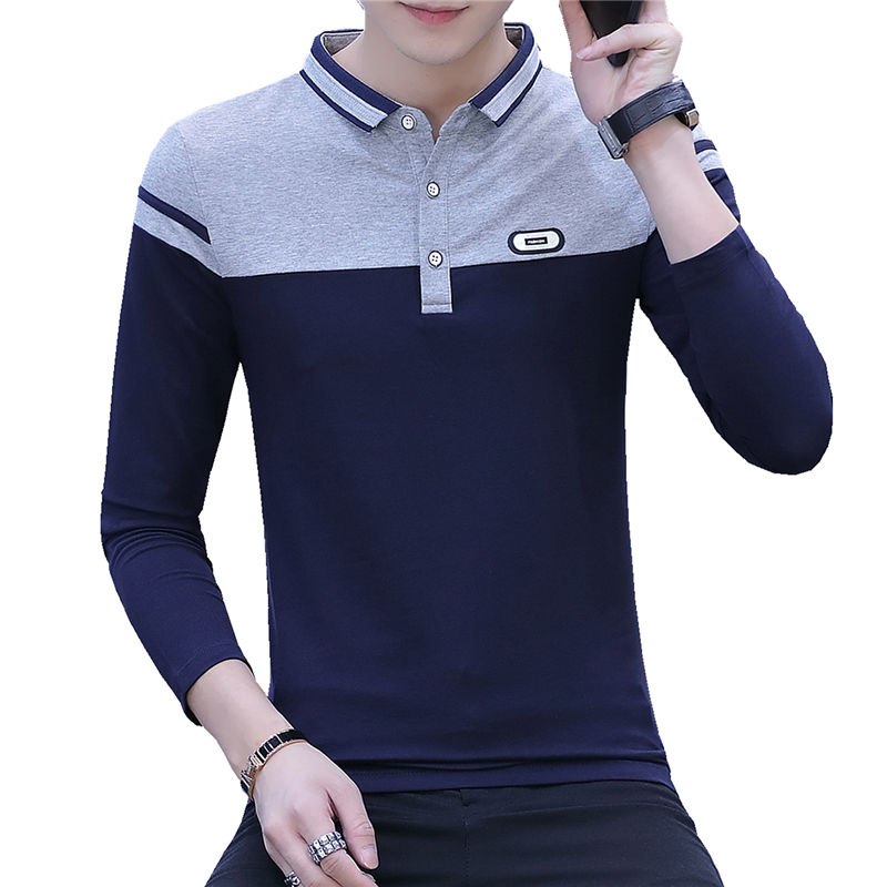 Autumn Long Sleeve T-shirt Men's Korean Version Polo Youth Slim Fit Men's Handsome Base Coat Thin Autumn Clothes [issued On February 11]