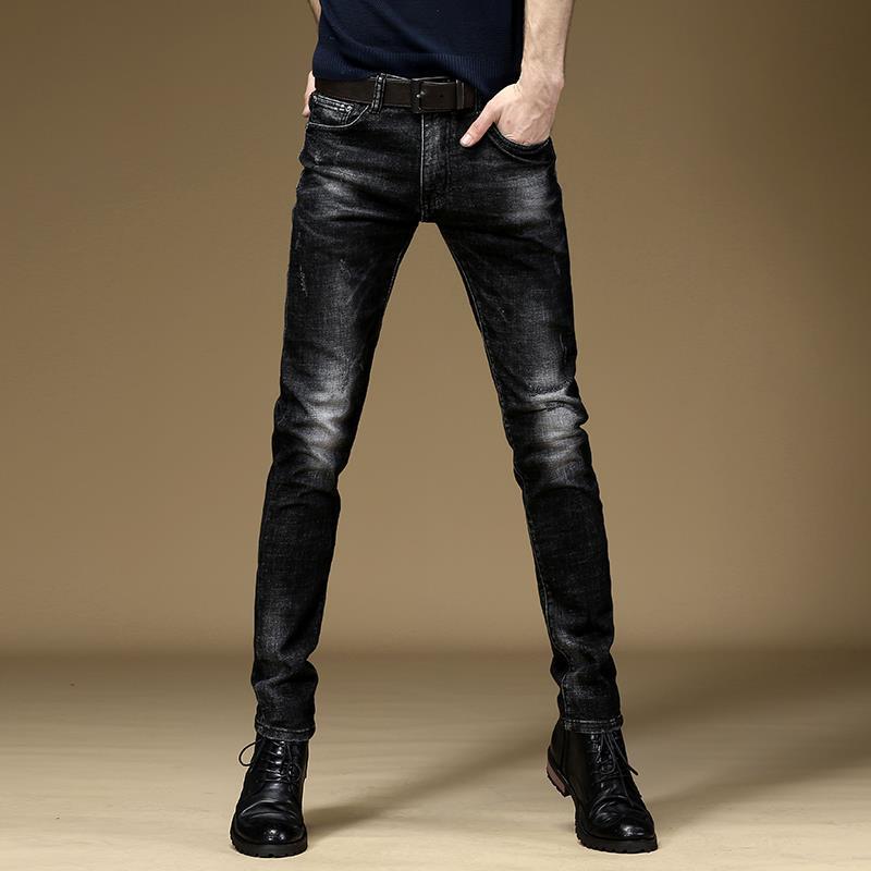 Autumn And Winter Fashion Brand Men's Jeans Slim Elastic Leggings Men's Korean Fashion Black Casual Pants Men's Wear