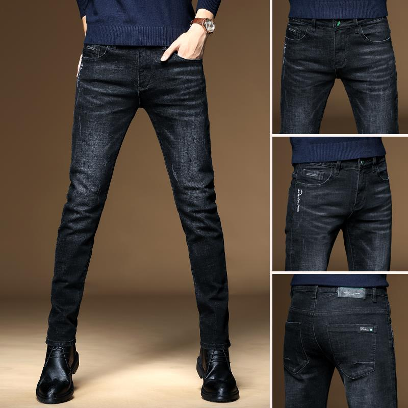 Autumn And Winter Black Men's Jeans Slim Leggings Elastic New Versatile Pants Men's Korean Casual Pants