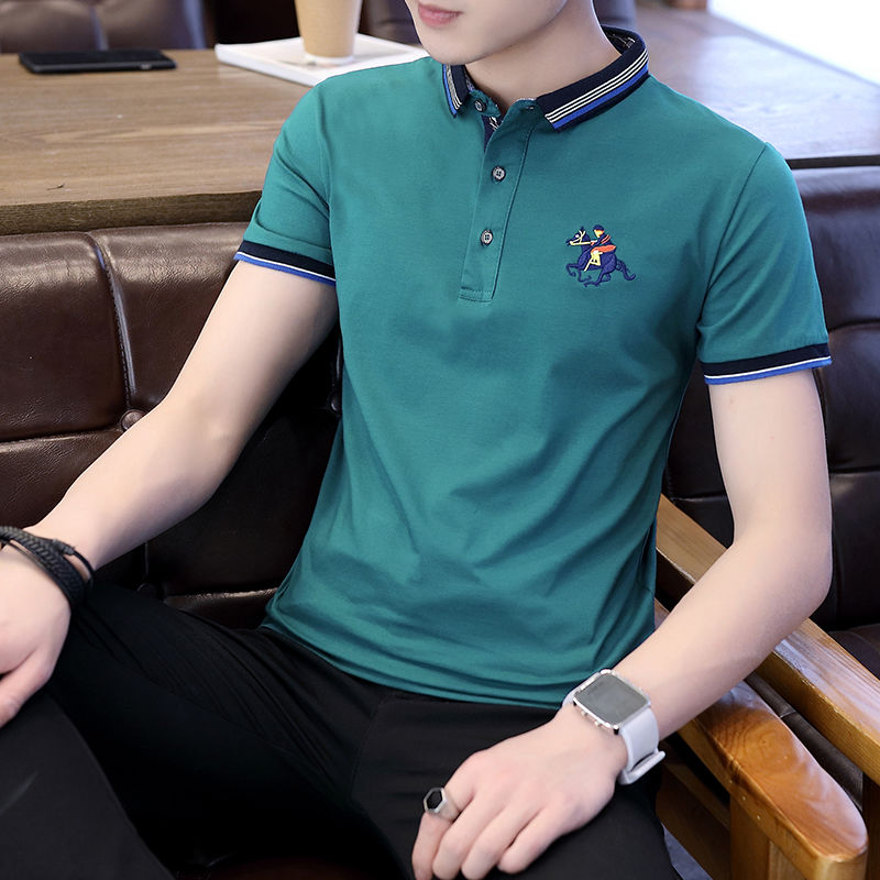 Fuguiniao Men's Short Sleeve Polo Shirt Men's T-shirt Summer Students Korean Slim Lapel Trend T-shirt Cotton T-shirt [issued On February 12]