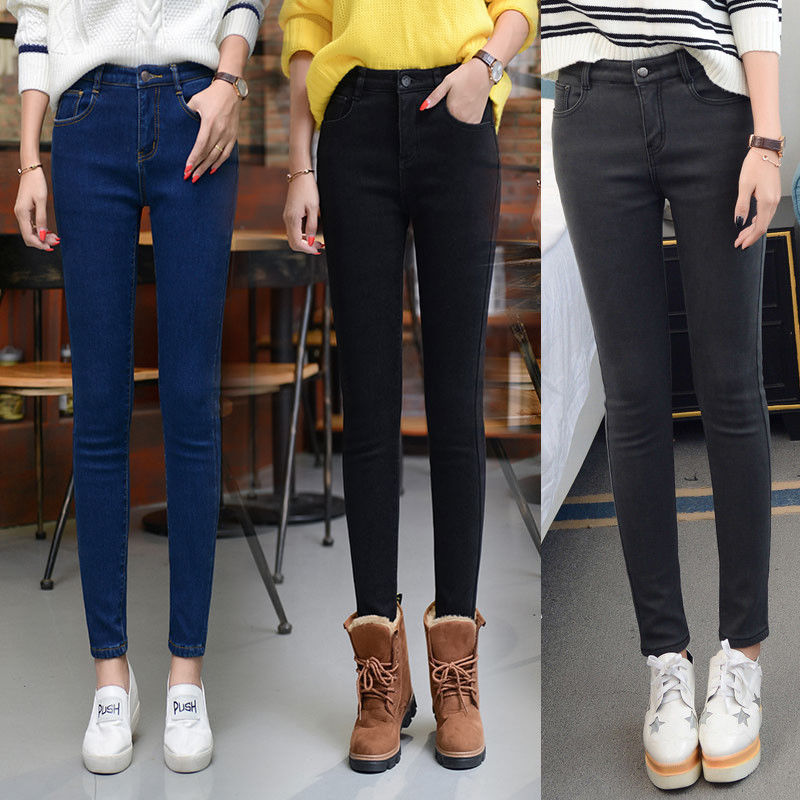 High Waist, Plush And Thickened Large Jeans, Women's Fat Mm, Autumn And Winter 2019 New Korean Version Slim Leggings