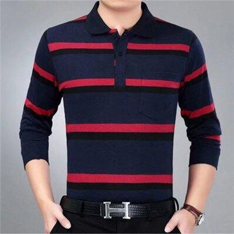 Real Pocket Autumn And Winter Youth Cotton Loose T-Shirt Top Men's Stripe Lapel Long Sleeve Polo Shirt Dad's