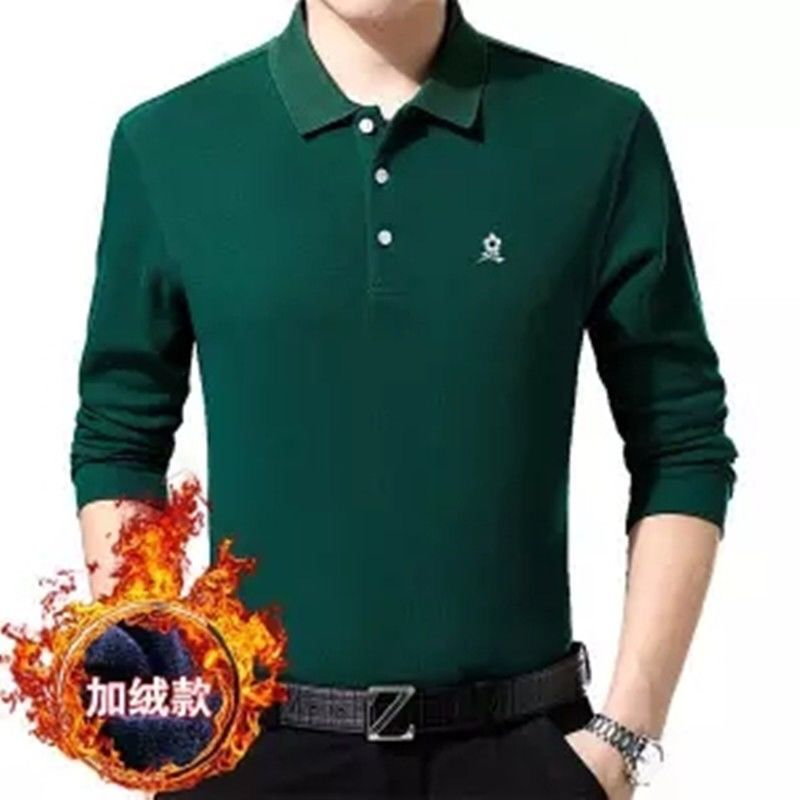 Autumn And Winter Mengtejiao Long Sleeve T-shirt Men's Pure Cotton Plush Thickened Solid Color Middle-aged Polo Shirt Top Father's Autumn Clothes