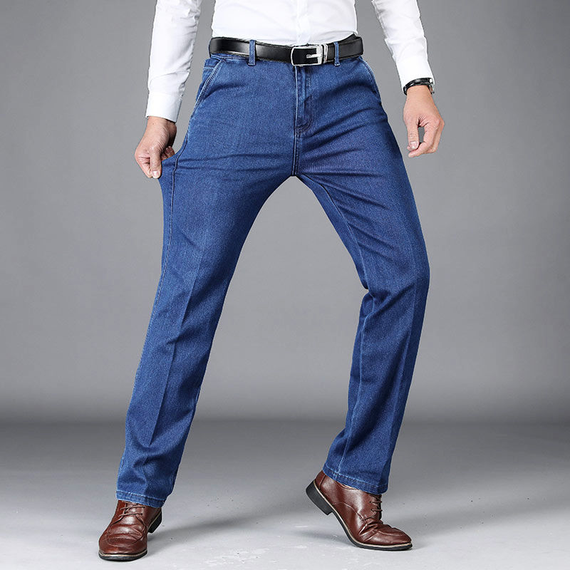 Spring Jeans Men's Straight Tube Loose High Waist Business Middle And Old Age Elastic Large Men's Daddy Long Pants
