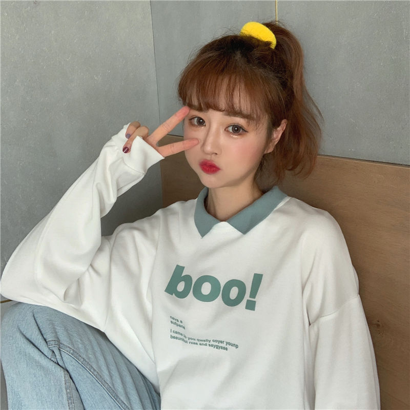 Autumn Women's Sweater 2019 New Long Sleeve Loose Short Polo Collar Letter Printed Korean Ins Student Top [issued On February 11]