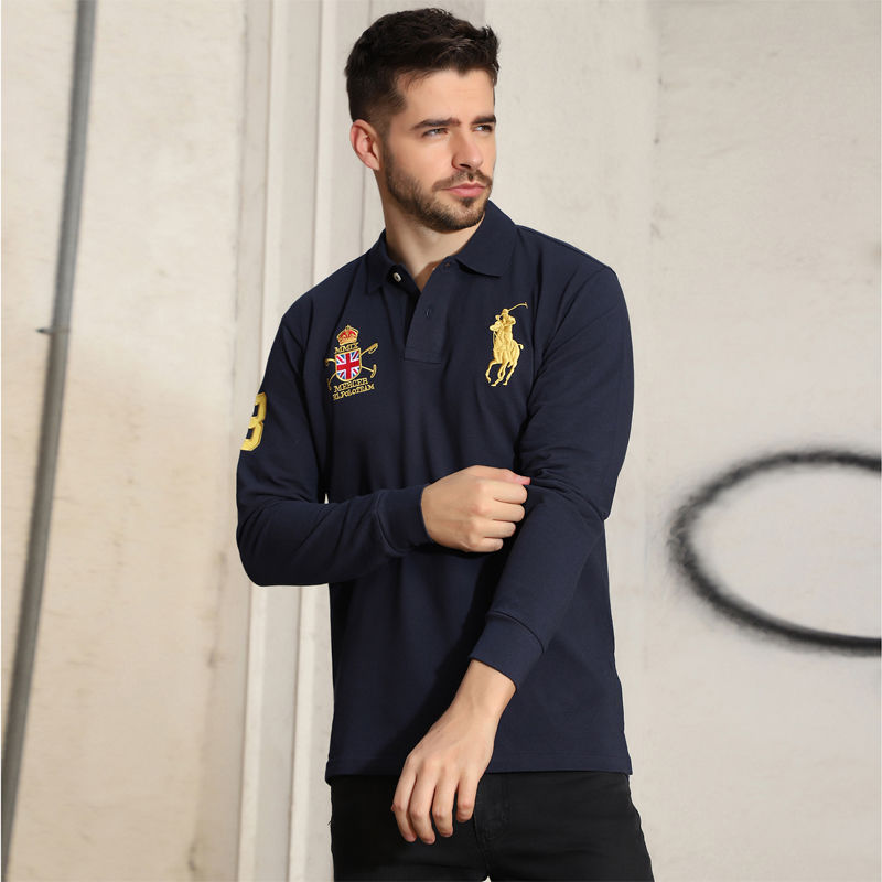Paul Long Sleeve Polo Shirt T-shirt Men's Pure Cotton Spring Autumn Loose Fat Plus Plus Size Solid Color Top Casual T-shirt