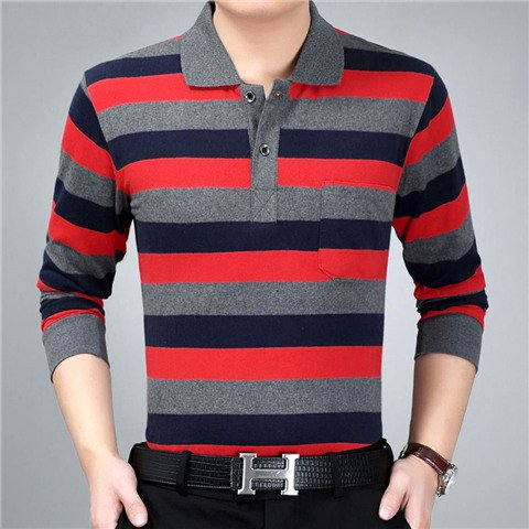 New Real Pocket Autumn And Winter Youth Cotton Loose T-Shirt Top Men's Stripe Lapel Long Sleeve Polo Dad
