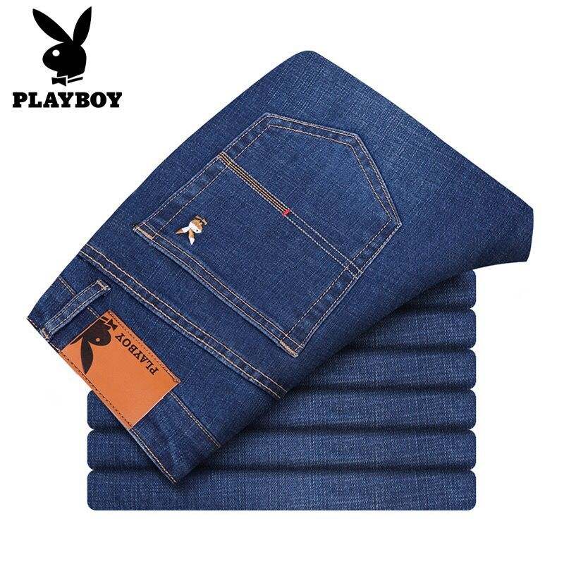 Playboy Jeans Men's Spring And Summer Loose Straight Elastic High Waist Large Middle-aged Casual Business Men's Clothing [issued On February 12]