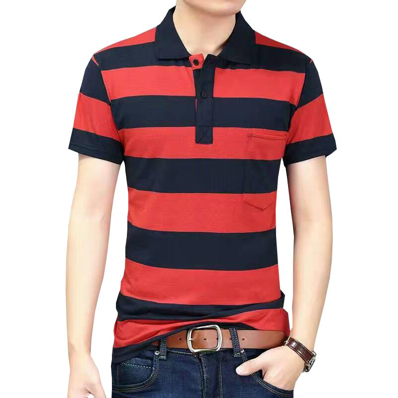 Men's Short Sleeved T-shirt, Cotton Lapel, Half Sleeved Polo Shirt, Middle-aged Men's Pocket Top, Summer Stripes, Dad's Clothes [issued On February 3]