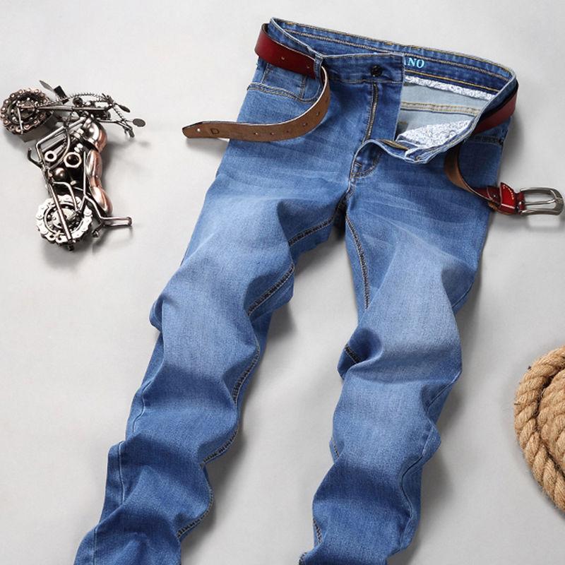 Jeans Men's Slim Straight Tube Men's Pants Autumn And Winter Mid Waist Elastic Large Size Business Casual Men's Pants