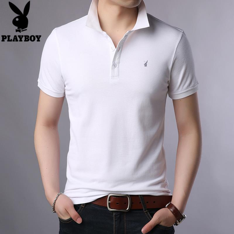 Playboy VIP Men's Short Sleeve Polo Shirt New Summer Combed Cotton T-shirt Men's Lapel Solid Color T-shirt [issued On February 9]