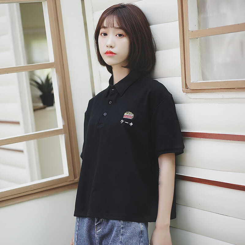Soft Girl Polo Women's 2019 Summer New Korean Pure Cotton Student Cartoon Embroidery Lapel Short Sleeve T-Shirt Top