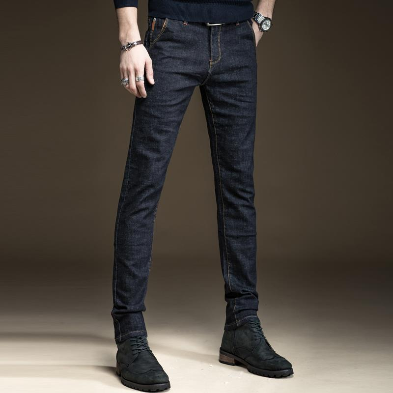 Autumn And Winter Plush And Thickened Black Jeans Men's Slim Leggings Young Men's Elastic Casual Pants