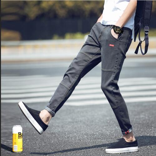 Autumn And Winter Jeans Men's Korean Slim Leggings And Plush Elastic Capris Casual Boys' Fashionable Pants