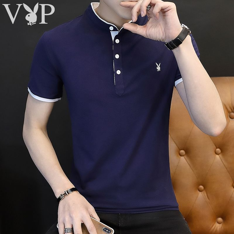 [Playboy VIP] 95 Cotton Men's Summer Lapel Short Sleeve T-shirt Solid Slim Men's Polo [issued On February 9]